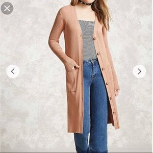 NWT Forever 21 Longline Ribbed Cardigan